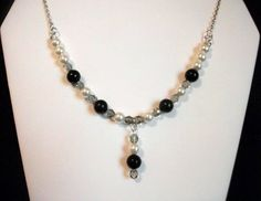 White and Black Pearl Dangle Necklace by Culbertscreations on Etsy