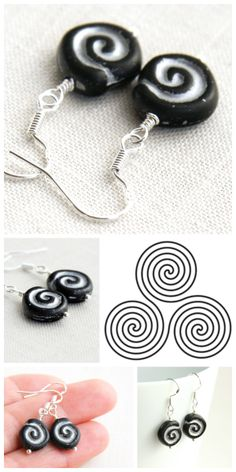 Goddes Earrings - Black and Silver Greek Spiral Earrings - Unique Czech Glass Beads from artisan market