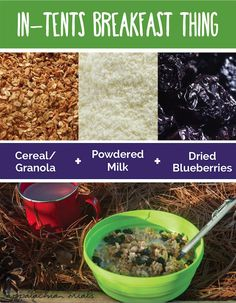 3 Ingredient Backpacking Meals - In-Tents Breakfast Thing - Cereal / Granola + powdered milk + dried blueberries