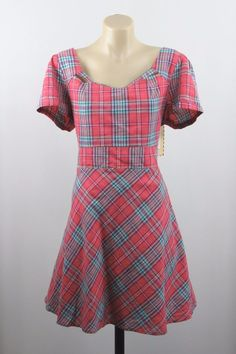 Size L 14 Revival Dangerfield Ladies Tartan Dress Retro Pinup Rockabilly Design #Revival #Skater #Casual