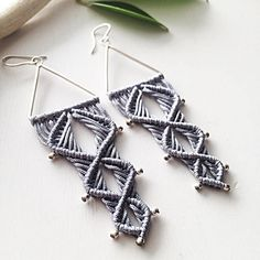 Sterling silver macrame earrings DIY grey macrame earrings