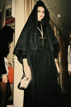 Nunsploitation † #nun #habit #female #costume #religious #iconography #sin #sinner #gin #alcohol #bottle #nunsploitation costumes, steel magnolias, friends, alcohol, dresses, dress up, beauti, dark fashion, bottles