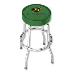 "Green stool with black and yellow John Deere logo. Stool has an extremely durable 12 mil vinyl cover over thick foam padding. Cushion is 14"" in diameter and stool height is approximately 29"". Chromed"