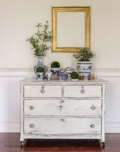Pink Floral Dresser + White Chippy Dresser with DecorSteals Knobs