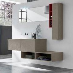 Mobile bagno sospeso doppio lavabo integrato Tulle Archeda