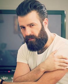 Beard Balm Leave-in Conditioner with Natural Bees Wax, Jojoba & Argan Oil - Styles, Softens, Strengthens & Thickens for Healthier Beard Growth & Mustache - 2 oz - The B. Mens Hairstyles Pompadour, Mens Hairstyles With Beard, Great Beards, Awesome Beards, Beard Styles For Men, Hair And Beard Styles, Van Dyke Bart, Beard Suit, Beard Haircut