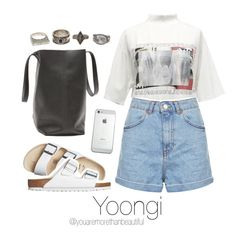 """Bangtan Outfit / #3"" by youaremorethanbeautiful ❤ liked on Polyvore featuring Birkenstock, Topshop and Charlotte Russe"