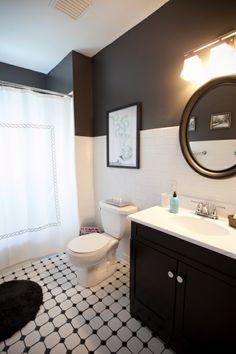Dark gray walls bathroom