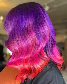Dark Purple Hair Color, Vivid Hair Color, Burgundy Hair, Hair Color Shades, Cool Hair Color, Hair Colors, Pink Purple, Color Melting Hair, Flame Hair