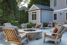 Firepit and hot tub- Gordon Associates: Fiske Residence, Wellesley, MA
