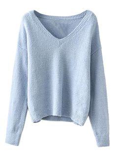 Light Blue V-neck Long Sleeve Knit Sweater
