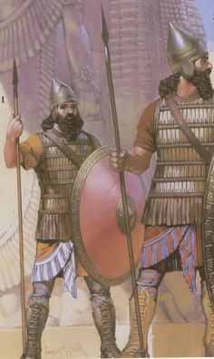 Assyrian soldiers circa 670 BC. Outside from their outrageous beards, the most noteworthy accessory on these men is their boots. While combat footwear up through ancient Rome closer resembled sandals, the Assyrians used leather jackboots with metal plated shins. This contributed to the army's infamous ability to march through and fight in any terrain. Along with Alexander's army and the Roman army, the Assyrian army was one of the revolutionary militaries of history.