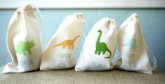 Dinosaur Personalized Boys Birthday Party Muslin Favor Bag // Set of 10 on Etsy, $25.00