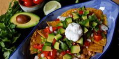 Healthy nachos recipe with baked corn tortilla chips (1 Green, 1 Yellow, 1/2 Red, 1/2 Blue/Orange) // 21 Day Fix // fitness // fitspo // workout // motivation // exercise // Meal Prep // diet // nutrition // Inspiration // fitfood // fitfam // clean eating // recipe // recipes