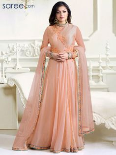 c27fc4e5ed PEACH GEORGETTE FLOOR LENGTH ANARKALI SUIT WITH EMBROIDERY WORK Anarkali  Dress, Anarkali Suits, Lehenga