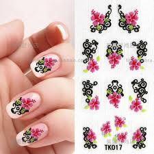 Haga sus propios stickers para uñas:  esmalte transparente o claro sobre un nylon, dejar secar, dibujar con esmalte o acrilico (!) lo que uno quiera, dejar secar nuevamente. Para aplicar: top coat, el sticker, top coat. Voila!