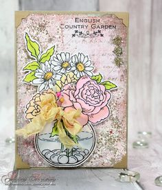 English Country Garden Stampendous Bowl Bouquet by @Asia King for #ScrapbookAdhesivesby3L featuring #Stampendous Bowl Bouquet and Pink Encrusted Jewel Technique Kit!
