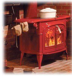 love the red wood stove!