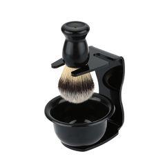 3 In 1 Shaving Soap Bowl +Bristle Hair Shaving Brush+ Shaving Stand for Men