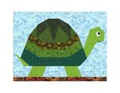 Turtle quilt block pattern paper piecing by PieceByNumberQuilts Quilt Block Patterns, Pattern Blocks, Quilt Blocks, Paper Pieced Quilt Patterns, Quilt Baby, Turtle Quilt, Animal Quilts, Foundation Paper Piecing, Barn Quilts