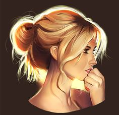 "Blond Girl Illustration. Hair / Ragazza bionda, illustrazione. Capelli - Art by mannequin-atelier on deviantART, ""Light Your bust"""