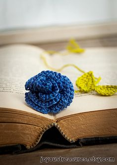 Handmade Crocheted Flower Bookmark Blue Rose