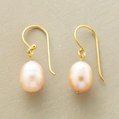 """BLUSH PEARL EARRINGS--In these blush pearl earrings, pearls awash with the palest pink lend a fresh glow as they swing from 14kt gold vermeil wires. Exclusive. 7/8""""L."""