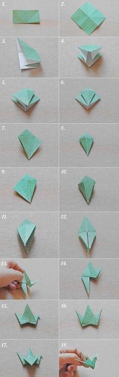 grullas de papel paso a paso