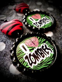 "The ""I Love Zombies"" earrings by LittleShopOfHorrors!"