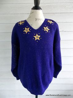 Vintage Sweater  1980s PURPLE Stars and by runaroundsuevintage, $30.00