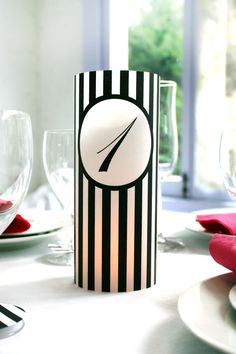 Printable 8 inch Black and White Stripe Table Number Luminaries 1-24 DIY. $10.00, via Etsy.