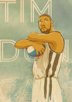 Artist Mike Donovan captures San Antonio Spurs and future hall of famer Tim Duncan in a very Tim Duncan pose. Basketball Jones, I Love Basketball, Basketball Teams, Manu Ginobili, Sports Baby, Milwaukee Bucks, Nba Champions, San Antonio Spurs, Hustle