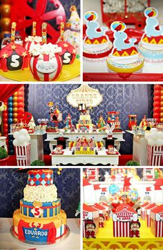 Circus Party Inspirations - Birthday Party Ideas for Kids and Adults Dumbo Birthday Party, Carnival Birthday Parties, Circus Birthday, Themed Parties, Birthday Ideas, Birthday Cake, Circus Party Decorations, Carnival Themes, Party Themes