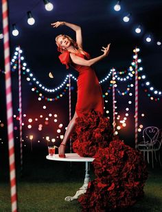 Uma Thurman by Koto Bolofo for Campari 2014 May Spain Outfit: Vicky Martin Berrocal, dress silk satin skirt with roses curd, skirt V-neckline and front Shoes: Salvatore Ferragamo