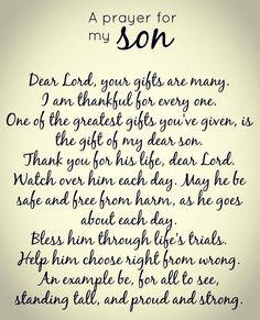 A Prayer For All The Sons In Family Land 2016 Son Birthday Quotes