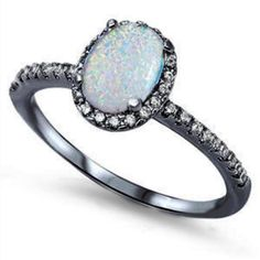 1.30CT Oval Cut Lab White Opal Round Russian Diamond CZ Black Gold Solid 925 Sterling Silver Halo Dazzling Accent Wedding Engagement Ring