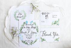 Watercolor Botanical Wedding Invitation, Calligraphy Wedding Invitation, Handmade Wedding Invitation, Hand letter wedding invitation