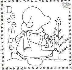 Sunbonnet Sue BOM - December Stitchery Pattern by Little Quilts - Mary Ellen Von Holt. Make a little calendar quilt, embellish a pillowcase, decorate a shirt or sew a fabric greeting card. Learn Embroidery, Hand Embroidery Patterns, Applique Patterns, Vintage Embroidery, Quilt Patterns Free, Applique Quilts, Embroidery Stitches, Embroidery Designs, Embroidery Applique