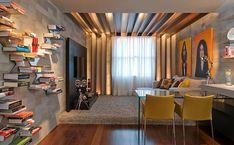 estar, jantar, concreto, madeira, mix de cores, moderno
