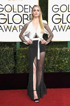 Sophie Turner wearing black and white Louis Vuitton dress at Golden Globes 2017