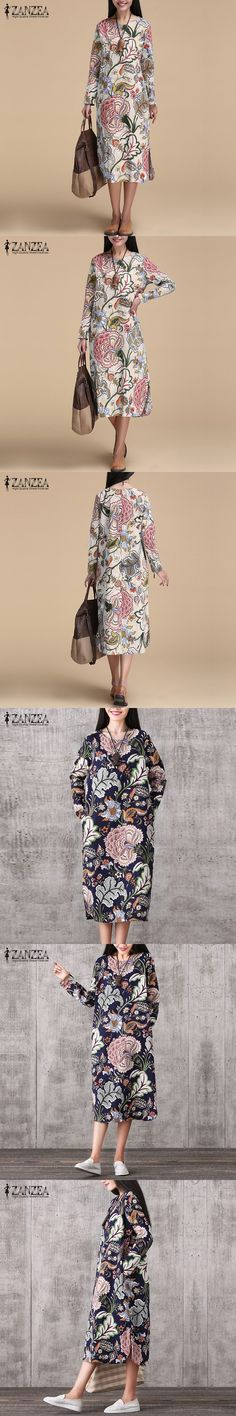 23abb1996d0 ZANZEA Vintage Women Pullover Loose Dress Casual Long Sleeve O Neck Dresses  Robe Plus Size Cotton Spring Autumn Dress Vestidos