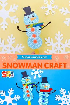 Let's make a cool snowman! Things You'll Need: - Blue, black, red and orange cardstock paper - Bubble wrap paper - White paint - Paintbrush - Scissors - Glue - Googly eyes - Ribbon - Black marker - Small pom poms - Hole punch - Pipe cleaner - Craft stick
