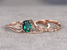 Hey, I found this really awesome Etsy listing at https://www.etsy.com/uk/listing/266644631/3pcs-emerald-engagement-ring-set14k-rose