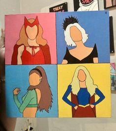 Cute Canvas Paintings, Diy Canvas Art, Easy Paintings, Marvel Wall Art, Marvel Room, Avengers Painting, Pebble Painting, Painting Art, Marvel Paintings