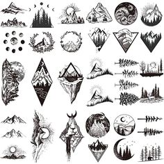 Geometric Mountain Tattoo, Mountain Tattoo Design, Small Mountain Tattoo, Geometric Art Tattoo, Cover Tattoo, Arm Tattoo, Sleeve Tattoos, Fake Tattoos, Small Tattoos