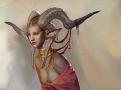 Satyr by Carlo-Arellano female elf horns girl tiefling | NOT OUR ART - Please click artwork for source | WRITING INSPIRATION for Dungeons and Dragons DND Pathfinder PFRPG Warhammer 40k Star Wars Shadowrun Call of Cthulhu and other d20 roleplaying fantasy science fiction scifi horror location equipment monster character game design | Create your own RPG Books w/ www.rpgbard.com
