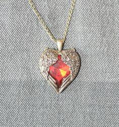 Hjerte med antikk messing / glass