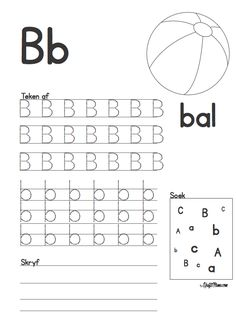 Afrikaans Alfabet A en B werkskaarte - KraftiMama Grade R Worksheets, Alphabet Worksheets, Preschool Learning Activities, Preschool Worksheets, Afrikaans Language, Alphabet For Kids, Kids Education, Phonics, Grammar Rules