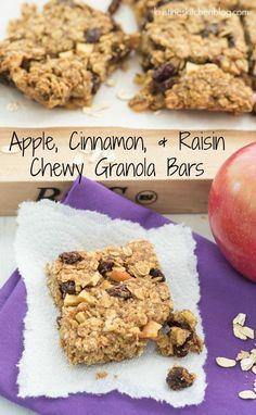 Apple, Cinnamon, and Raisin Granola Bars - a chewy, healthy snack! Granola Cookies, Granola Bites, No Bake Granola Bars, Healthy Granola Bars, Chewy Granola Bars, Homemade Granola Bars, Healthy Snacks, Healthy Breakfasts, Protein Snacks