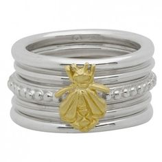 Slane Set of 5 Band Rings with Gold Bee